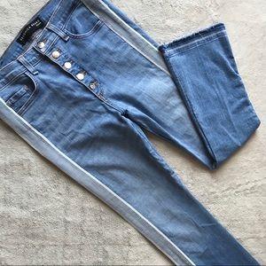 Veronica Beard Carolyn Tuxedo Stripe Jeans Blue 30